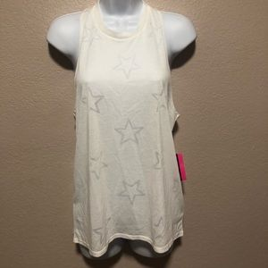 Material Girl-tank top white with stars design